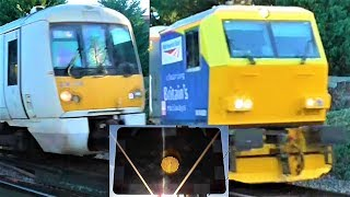 Faulty Alarm, Track Cleaner & A Class 376 at Teynham Level Crossing, Kent