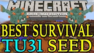 Minecraft ( Xbox 360 / PS3 ) BEST Survival Seed TU31 - Mesa Biome & Ocean Monument with NPC Village