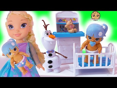 New Baby ! Disney Frozen Kids Queen Elsa + Anna Babysit ! Walk, Talk , Feed
