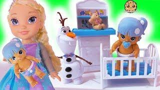 New Baby ! Disney Frozen Kids Queen Elsa + Anna Babysit ! Walk, Talk , Feed Doll