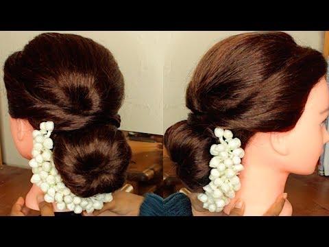 Easy Updobun With Jasmine Flowersgajra With Hair Donut For Tamil