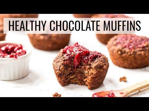 Healthy Raspberry Chocolate Muffins �� OIL-FREE & VEGAN