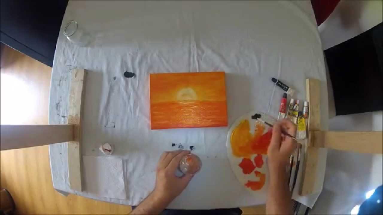 Cuadros rapidos en oleo sobre lienzo barco en el atardecer for Cuadro en lienzo modernos