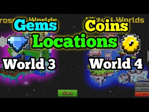 All Coins And Gems Locations In World 3 And 4 - Pixel Gun 3D