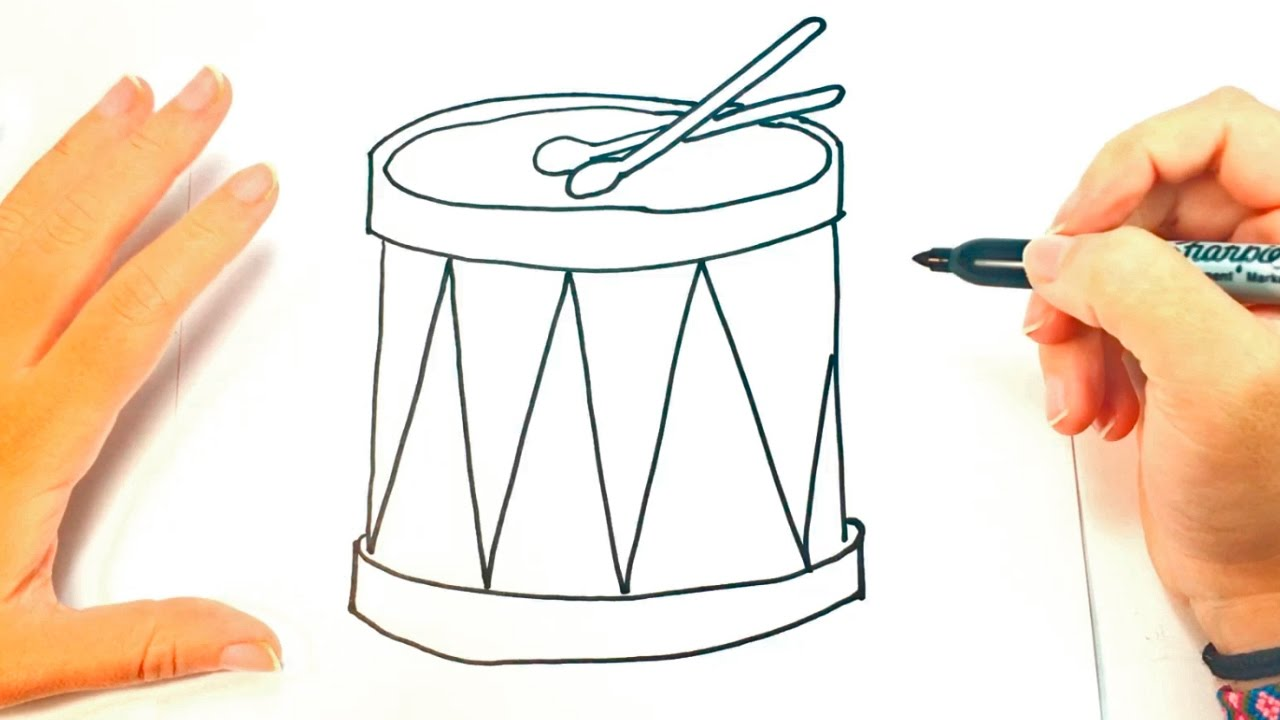 How to draw a drum for kids drum drawing lesson step by step