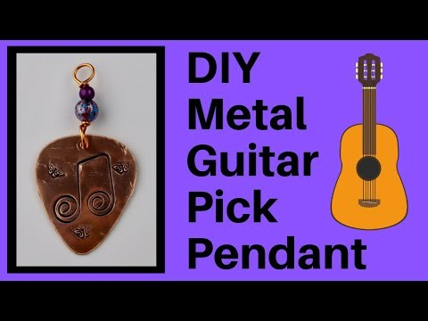 DIY Metal Guitar Pick Pendant Beaducation Collaboration