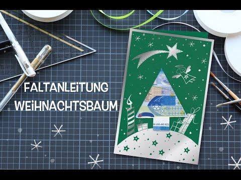 origami baum weihnachtskarte mit geldgeschenk einfach. Black Bedroom Furniture Sets. Home Design Ideas