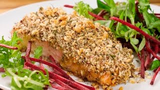 Лосось запеченный под ореховой корочкой. Красная рыба под горчичным соусом и ореховой корочкой.