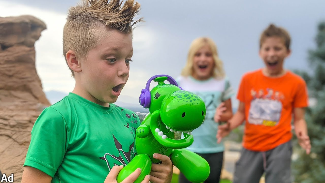 We have a PET Dinosaur! Squeaky the balloon Dino!