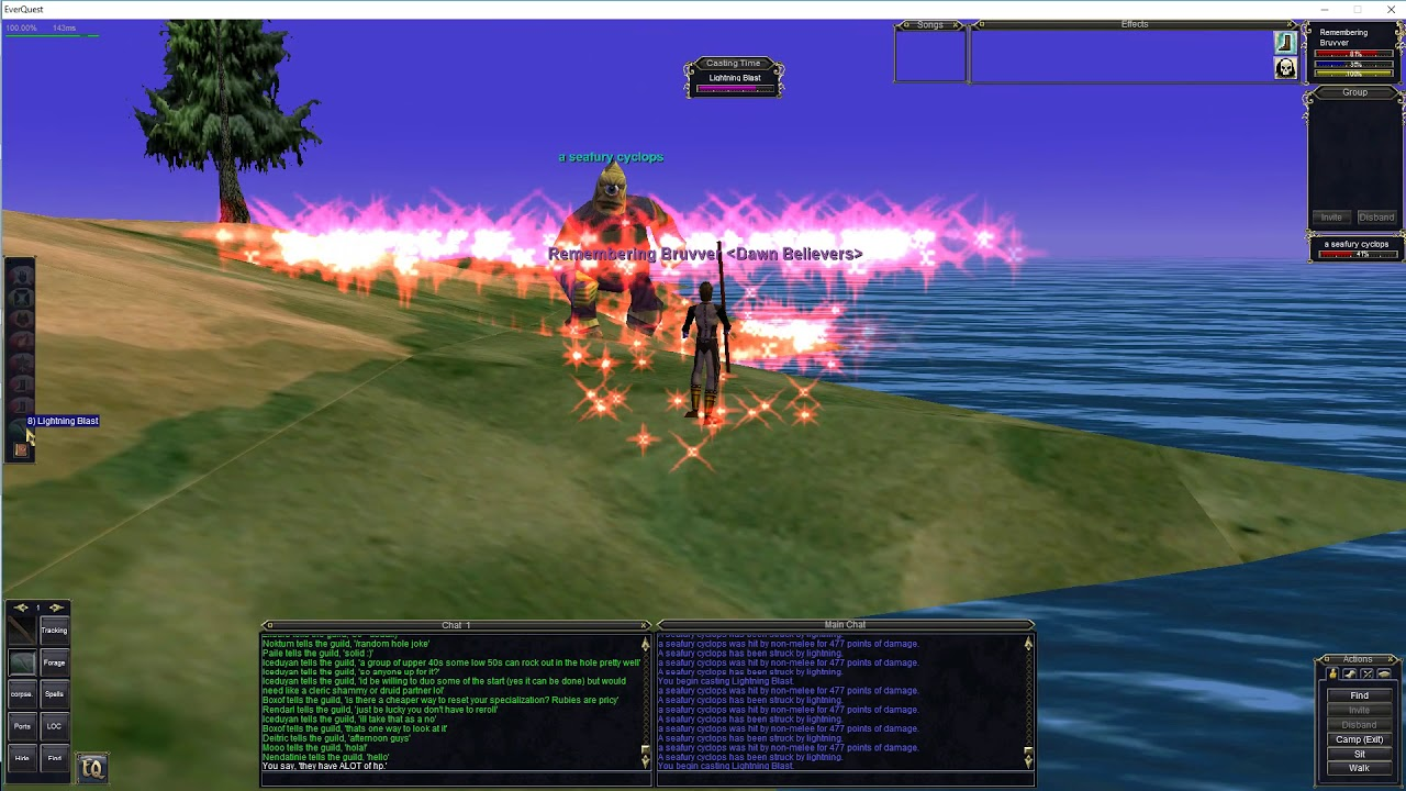 Project 1999 EverQuest  Druid quadding Seafury Cyclops in Ocean of Tears!