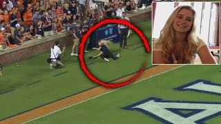 College Student Gets Hit In Face with Football While Photographing Game