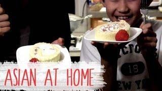 Cake Recipe : Strawberry Kiwi Roll Cake Recipe : Korean Style Sponge Cake
