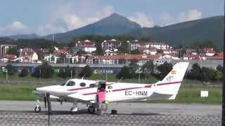 Aterrizaje Cessna 340 (Tecnoaviación deportiva) por la pista 04 de LESO