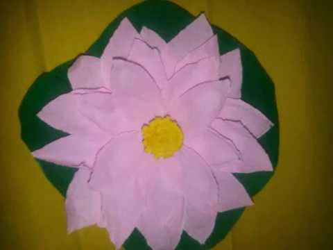 3d Lotus Flower Making With Paper Flower Craft Youtube