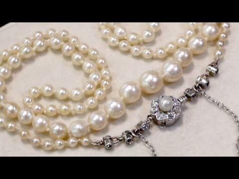 Single Strand Pearl and 0.37 ct Diamond Necklace with Palladium Clasp - AC Silver (A6956)