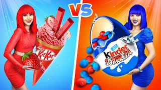 BLUE vs RED Color Food Challenge || Last to Stop Eating One Color for 24 Hours - Lose by Ratata Cool