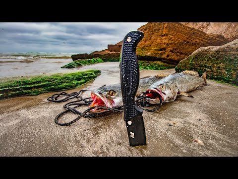 Fishing Using Only This Saltwater Survival Knife - CATCH AND CLEAN