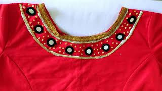 How To Change Plain Blouse Into Designer Blouse At Home||Stone Work Crop Top/Lehenga Blouse Design