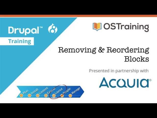 Drupal 8 Beginner, Lesson 50: Removing and Re-ordering blocks