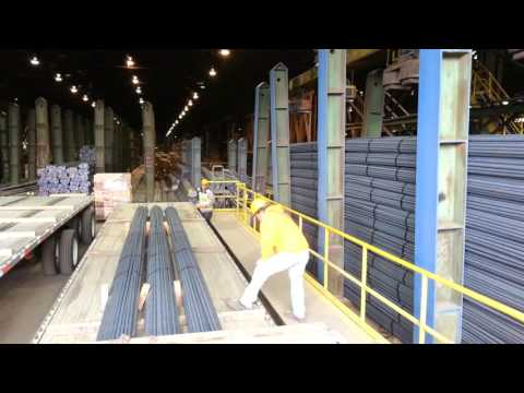 Loading steel rods with electromagnets