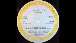 Lalo, Symphonie Espagnole Op 21, 1,2,3,4mov, Zukerman, Violin