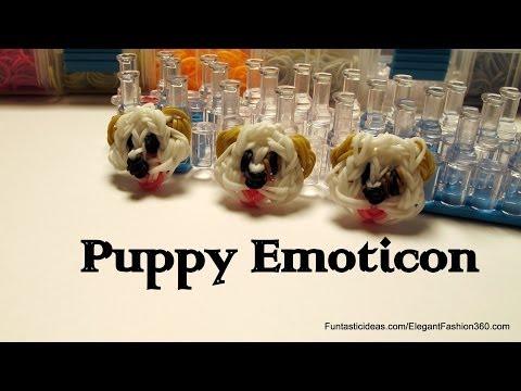Rainbow Loom Puppy dog Face/Emoji/Emoticon Charm - How to