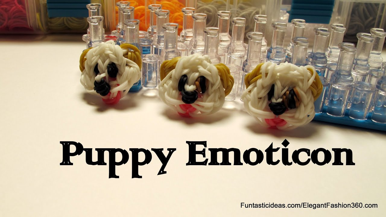 Rainbow Loom Puppy Dog Faceemojiemoticon Charm How To Youtube