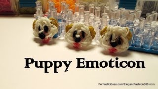 Rainbow Loom Puppy dog Face/Emoji/Emoticon Charm - How to