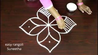 Beautiful kolam 7 with dots || easy rangoli muggulu || Simple designs for beginners