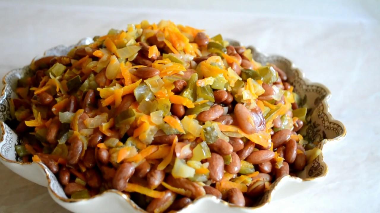 Кухновлог/Салат с фасолью и солёными огурцами