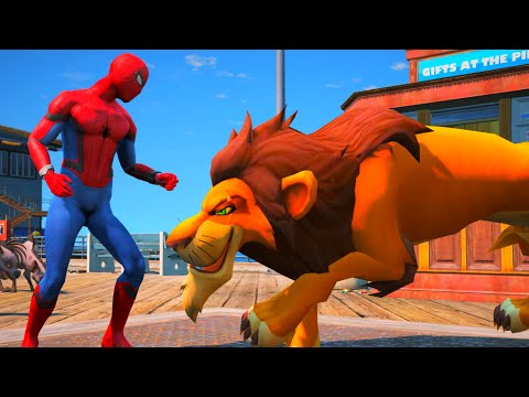 SPIDERMAN VS LION
