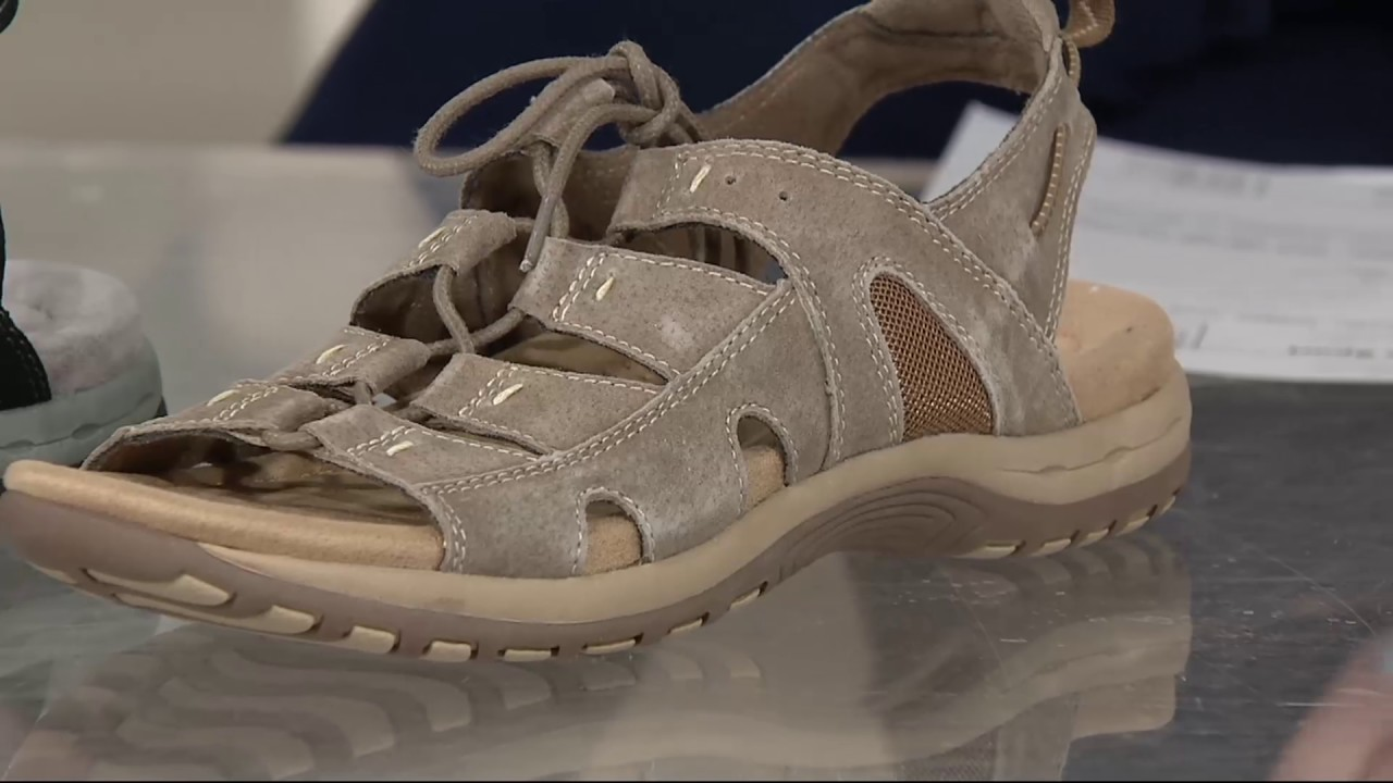 bd8dd3c998a Earth Origins Suede Lace-up Sport Sandals - Sassy on QVC - YouTube