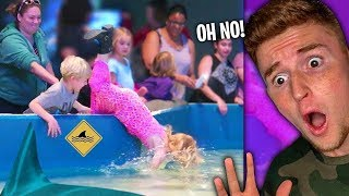 Girl Falls Into The SHARK TANK..