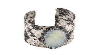 JK NY Round Stone Leather Cuff Bracelet