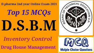 D.pharma 2nd year Online Exam 2021 DSBM Important MCQs Inventory control @Pharmacy Gyan
