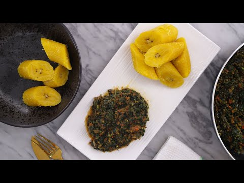 Download DINNER RECIPE - HOW TO MAKE BOILED PLANTAIN & LEAFY VEGETABLE SAUCE - ZEELICIOUS FOODS