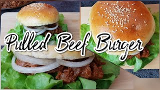 Pulled beef burger with homemade buns/how to make bun/fast food recepie/kids lunch box recepie