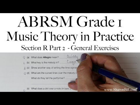 ABRSM Grade 1 Music Theory Section R Part 2 General Exercises With Sharon Bill
