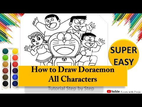 How To Draw Doraemon All Characters Step By Step | Learn With Pooja