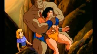 Conan gets bearhugged by Garr
