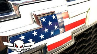 Chevy American Flag Badge / car or truck - Super easy trick with vinyl sticker