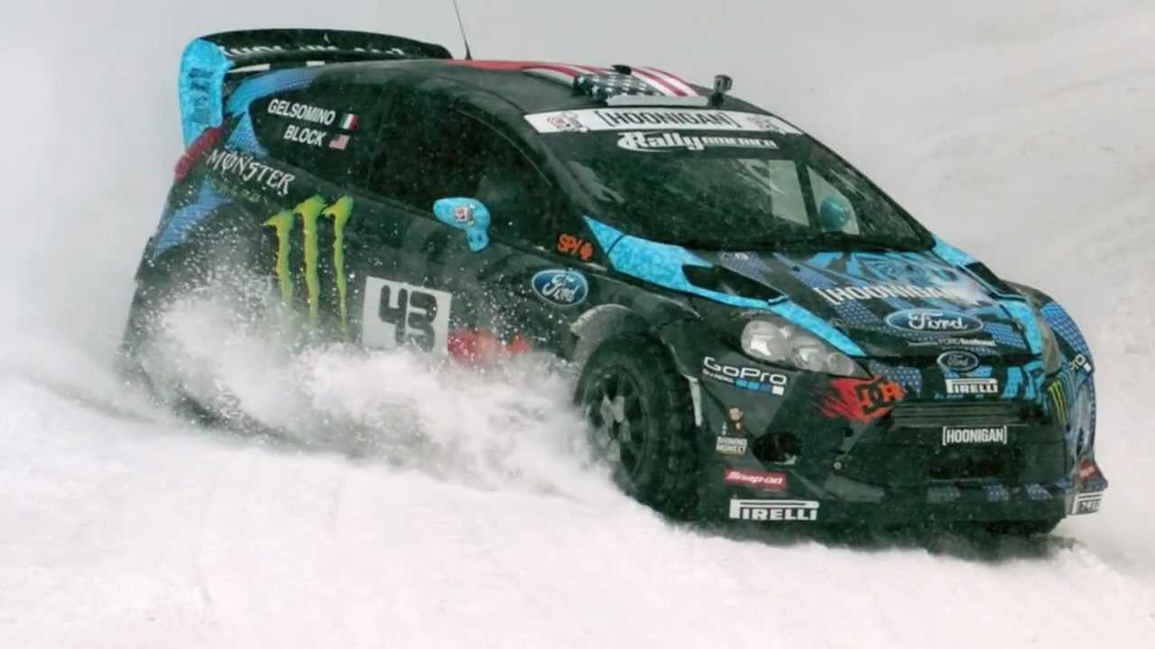 Ken Block Tests For Sno Drift 2013 With Face Melting
