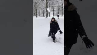 neige au camping de l'Aloua près du lac d'Annecy