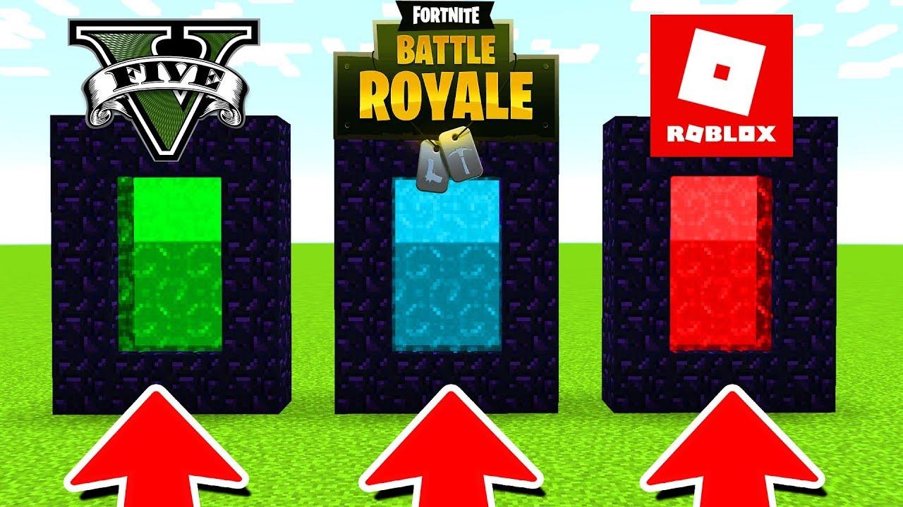 Minecraft : DO NOT CHOOSE THE WRONG PORTAL (Roblox,Fortnite,GTA 5) MINECRAFT PE