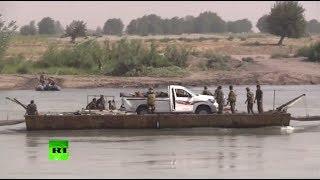 Видео форсирования реки Евфрат сирийскими военными в районе Дейр эз Зора