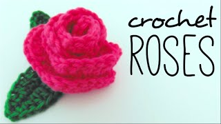 How to crochet ROSES (crochet flower and leaves) ♥ CROCHET LOVERS