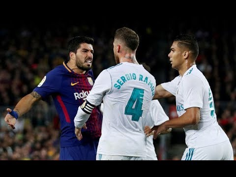 Luis Suárez vs Sergio Ramos ● Fights, Fouls, Dives and Red Cards
