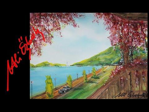 How to paint Waterside - Watercolor painting demo by Mehmet Ali Özbek (short version)