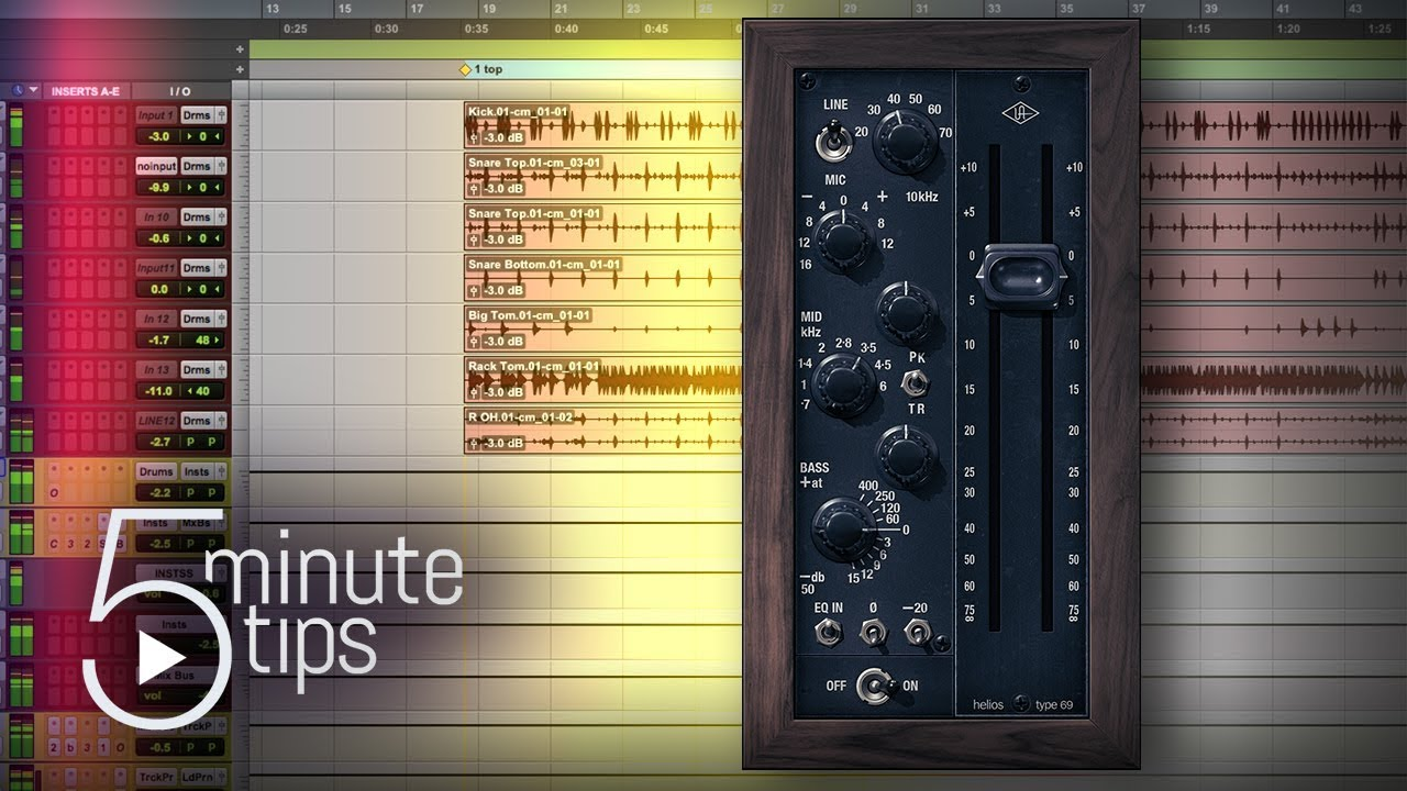 5-Min UAD Tips: Mixing Drums w/ Helios Type 69 Preamp and EQ Plug-In  Tutorial