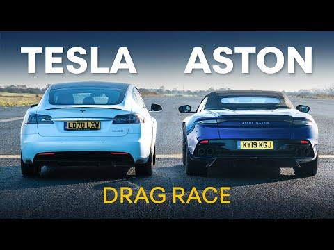 Tesla Model S Performance v Aston Martin DBS: DRAG RACE, 0-100-0, Rolling Race